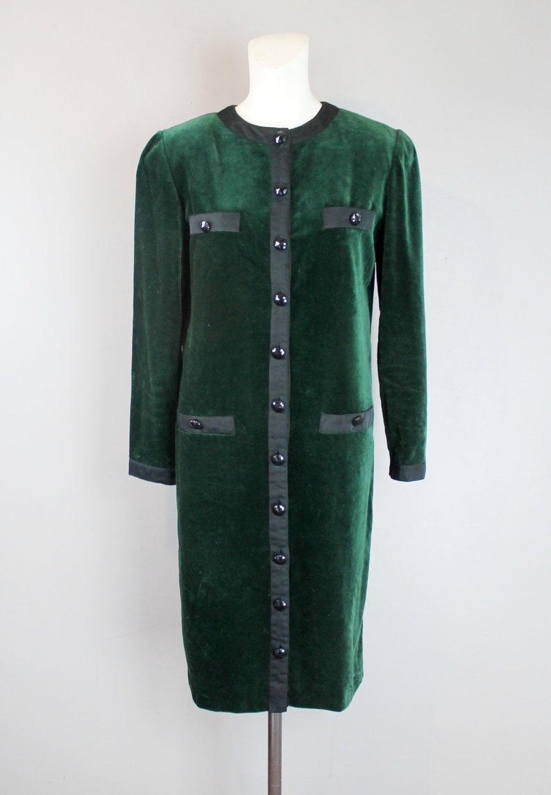 trimmed in black Grosgrain Ribbon Button Down Dress Green Velvet velour