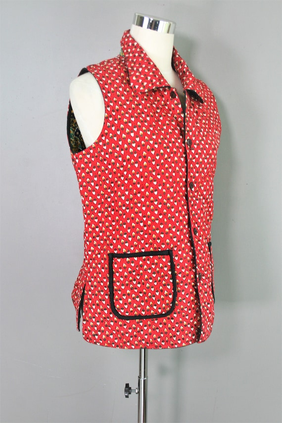Reversible - Quilted Vest - Red/Navy/Yellow - Esti