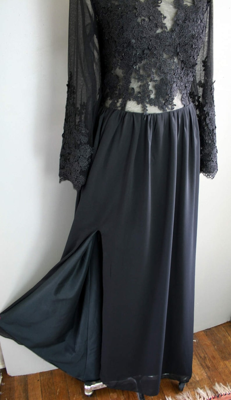 Black Lace Nude Illusion Evening Gown Size 1214 Couture