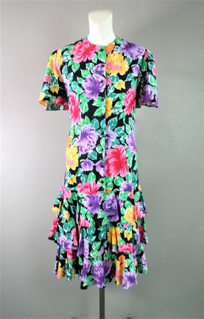 1980 Spring Chicken 1214 Floral Print Cotton Blend Tiered Ruffled Skirt Drop Waist