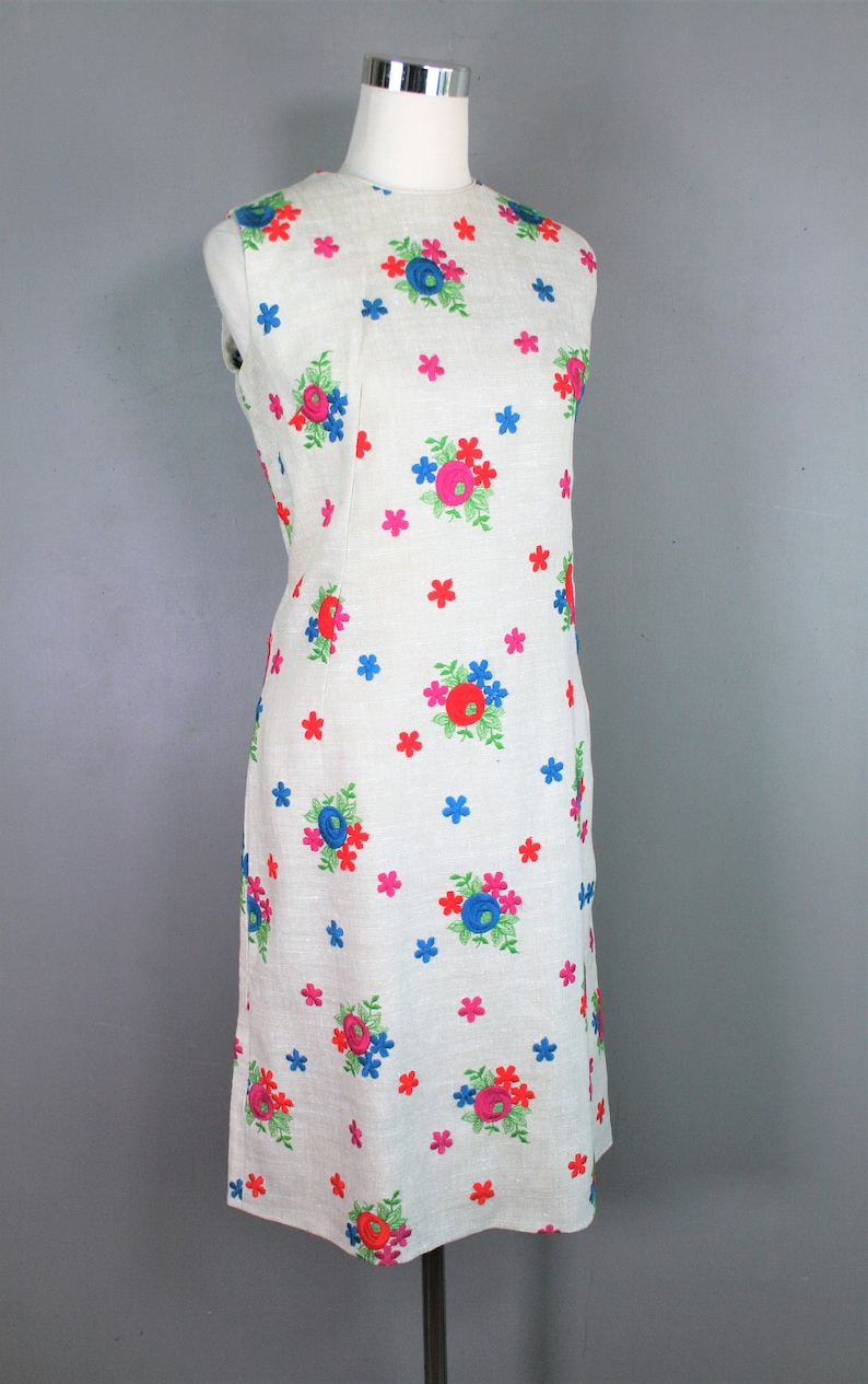 by Margaret Smith Marked size 12 Circa 1970s Embroidered Linen Sheath