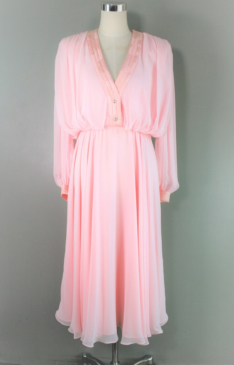 Pink Chiffon Circa 1980/'s Rhinestone Buttons Marked size 6 Oh So Charming Cocktail Party Dress Wayne Clark