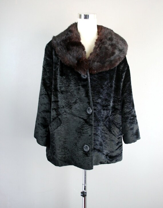 LUX Mink Collar - Black Chenille Cropped Jacket -