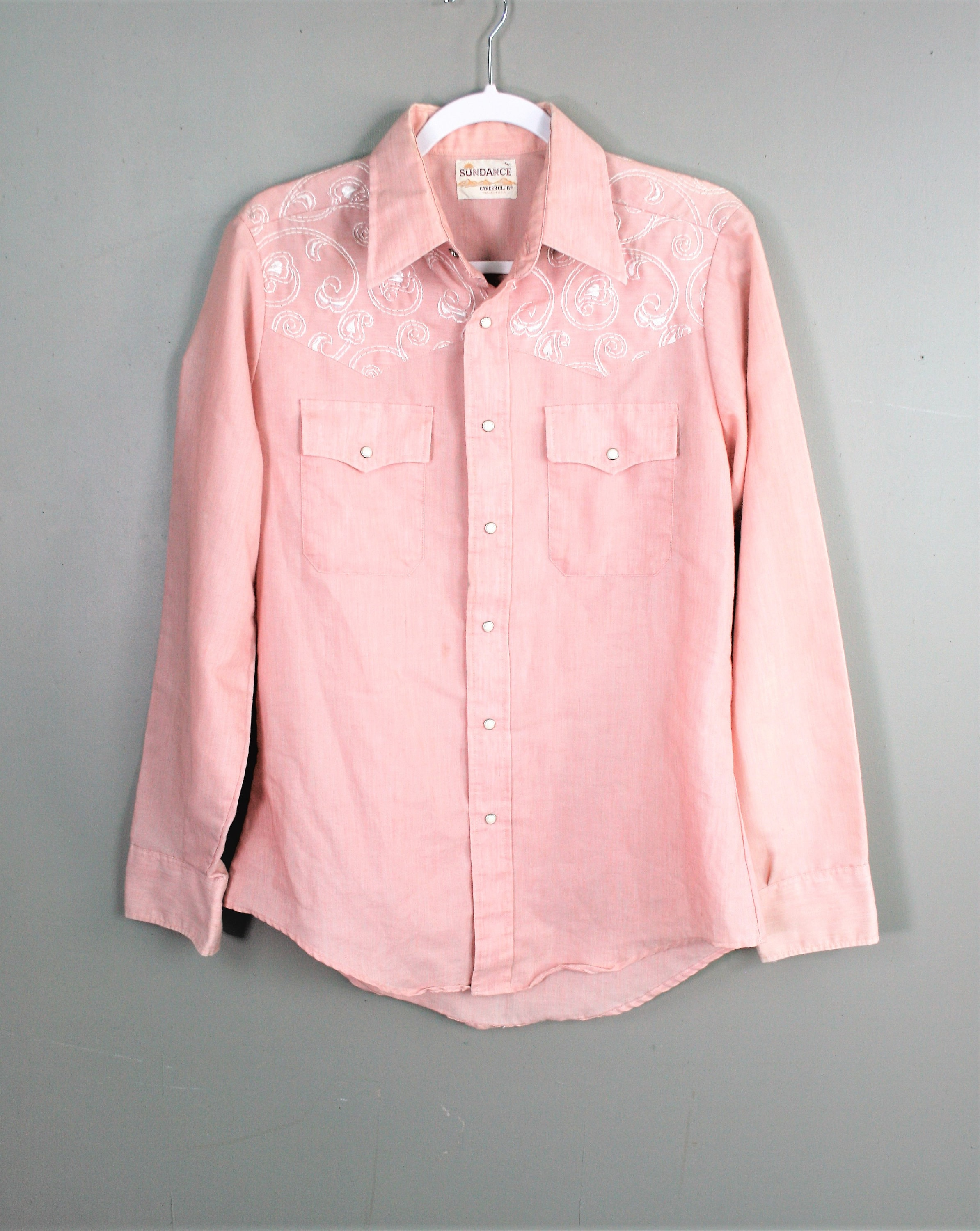 1970s Mens Shirt Styles – Vintage 70s Shirts for Guys 1970S - Pink Chambray Embroidered Yokes Mens Pearl Snap Marked M By Sundance Career Club $0.00 AT vintagedancer.com