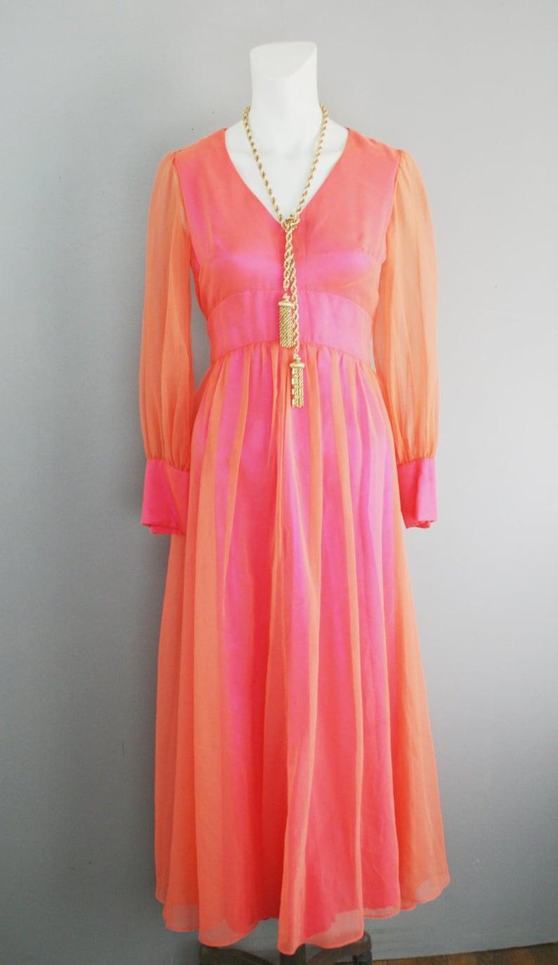 K55 1960-70/'s Orange Chiffon over Neon Pink Radioactive Retro Cocktail Dress