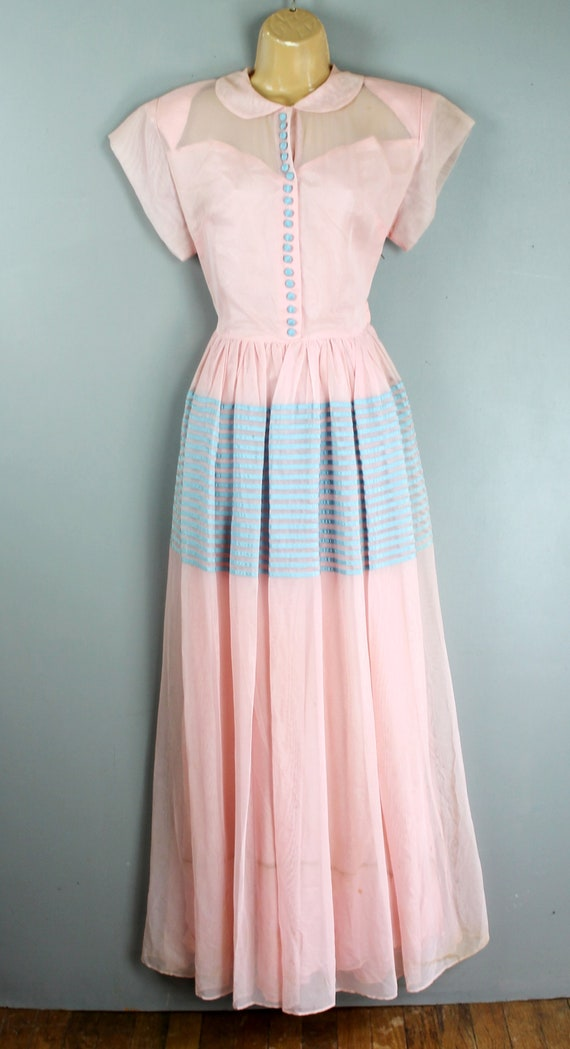 1940-50's - Pink and Blue - Party Gown -Pink Weddi