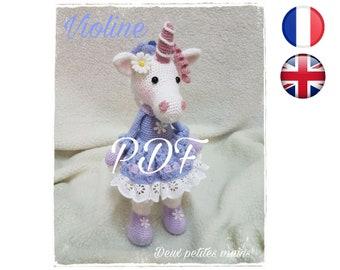 Violine-Unicorn-Amigurumi/Crochet Pattern-English-English Version-PDF-Email Delivery