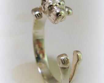 Silver Shar pei ring