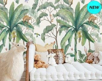 Baby Boy Nursery Jungle Wallpaper, Peel and Stick Mural Remove Wallpaper, Banana Leaf Wallpaper Removable Kids Room Wallpaper Animals #159