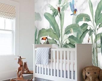 Safari Animal Nursery Boy Wallpaper Mural, Tropical Forest Wallpaper Peel and Stick, Kids Room Removable Wallpaper Jungle Nursery Decor #182