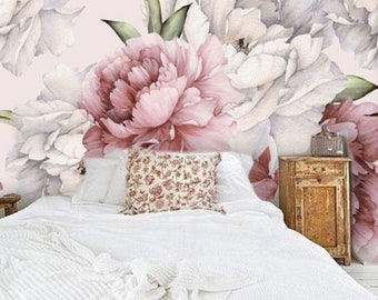 Large Peony Flower Removable Wallpaper, Peel and Stick Watercolor Floral Mural Wallpaper Nursery Girl, Wall Decal Bedroom Modern #185