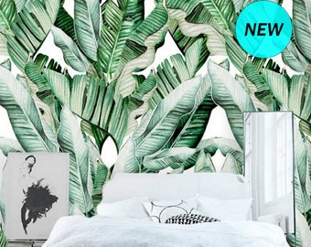 Watercolor Green Banana Leaf Removable Wallpaper Peel and Stick Jungle Tropical Leaves Wallpaper Large Tropical Plants Wallpaper Mural #158
