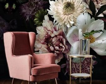 Dark Floral Mural Vintage Floral Wallpaper Peel and Stick, Black Floral Removable Wallpaper, Peony Flower Mural Wallpaper Large Flowers #183