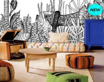 Black Peel & Stick Wallpaper Jungle Wall Mural, Removable Wallpaper Kids Animal Wallpaper, Mural Remove Self Adhesive Wallpaper Safari #160