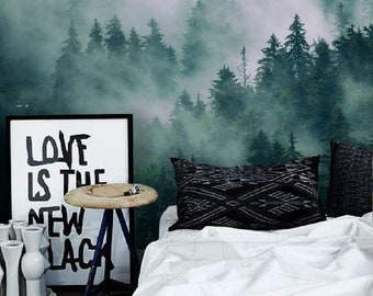 Forest Wall Mural Self Adhesive Wallpaper Foggy Misty Valley Removable Temporary Tree PeelStick 135