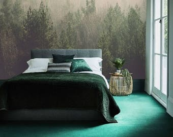 Removable Wallpaper Self Adhesive Wallpaper Forest Wallpaper Foggy Misty  Forest Wall Mural Temporary Wallpaper Tree Wallpaper Peelu0026Stick #96