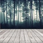 Removable Wallpaper Mural Peel & Stick Wallpaper Self Adhesive, Misty Forest Wallpaper Remove Temporary Wallpaper Tree Forest Wall Mural #64