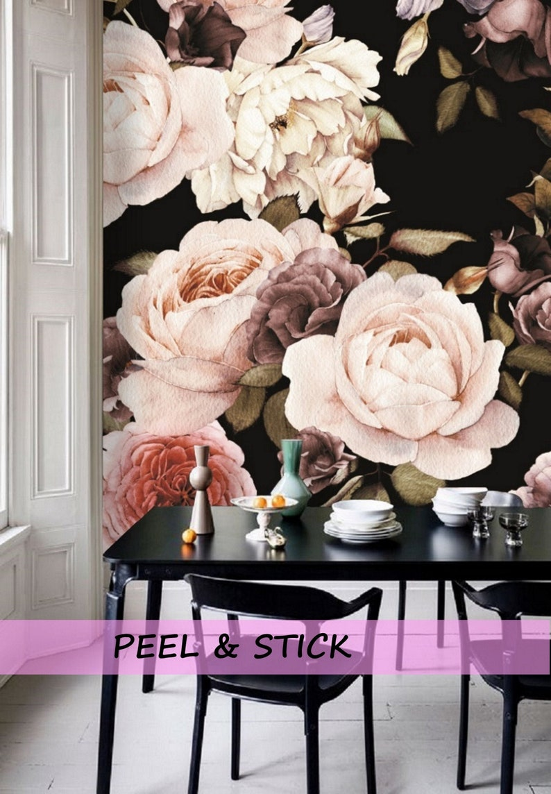 f1efac7f2414e Dark Floral Wallpaper Mural, Peel and Stick Wallpaper Floral Mural  Removable Peony Wall Paper Removable, Large Floral Wallpaper Vintage #85