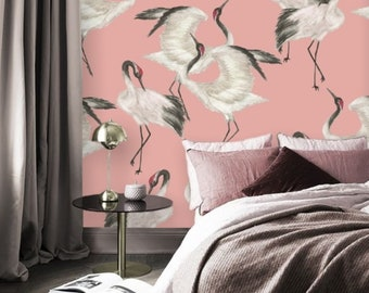 Pink Heron Print Removable Wallpaper Mural Peel and Stick, Crane Birds Wallpaper Self Adhesive Peel and Stick Chinoiserie Wallpaper #188