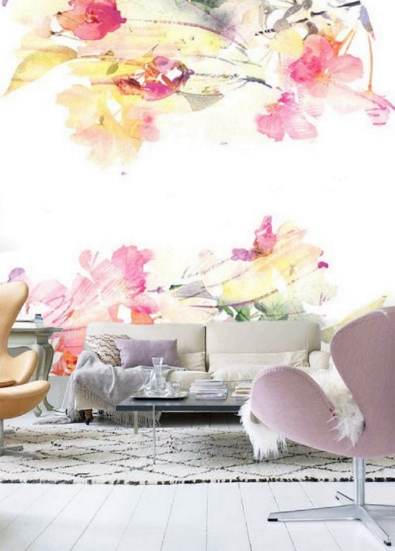 Large Floral Mural Wallpaper Remove Peel And Stick Wallpaper Etsy