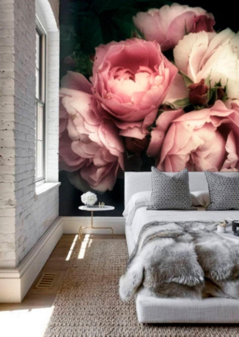 Dark Floral Wallpaper Self Adhesive Wallpaper Pink Wall Mural Etsy