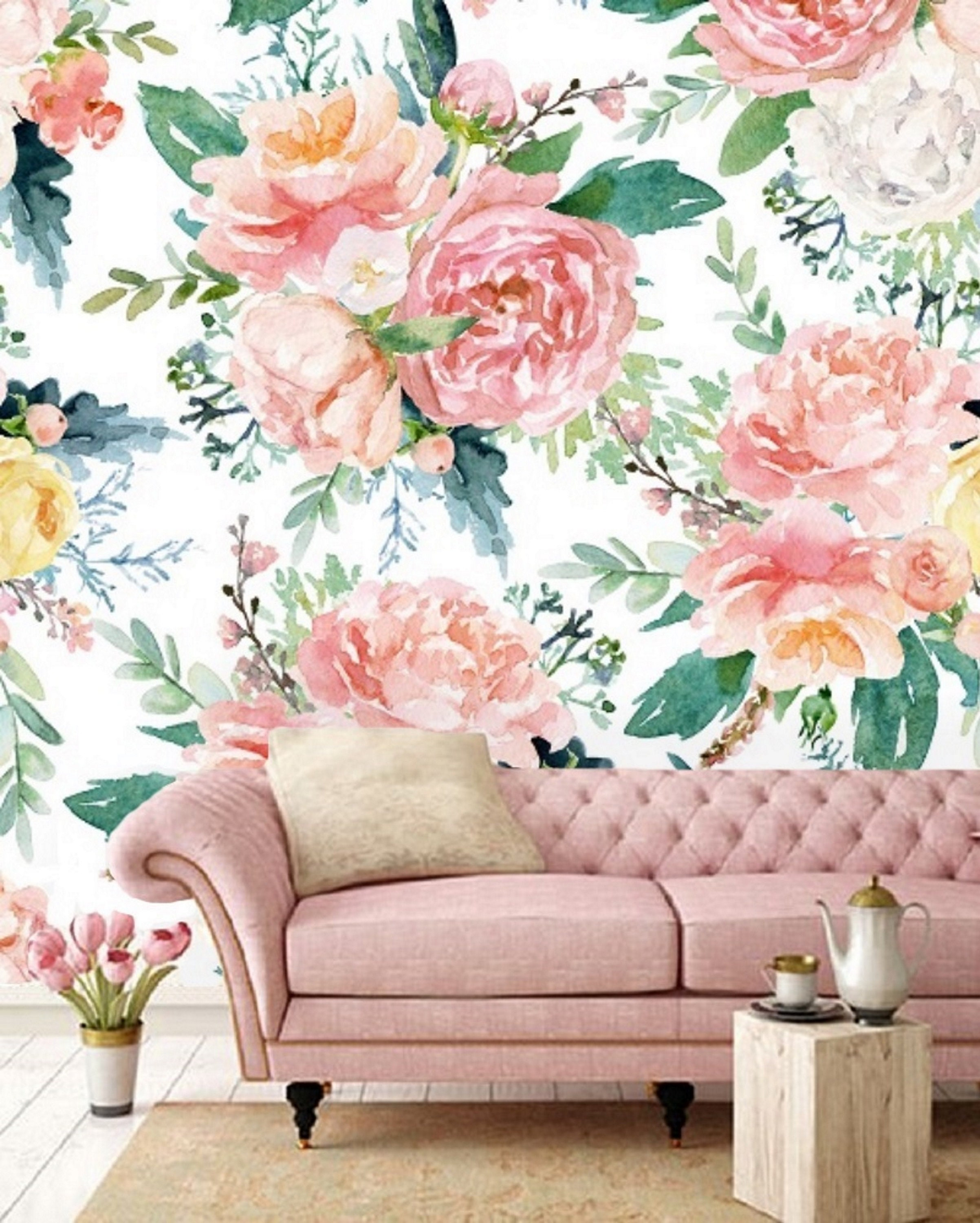 Peel And Stick Wall Mural Floral Wallpaper Mural Removable Etsy