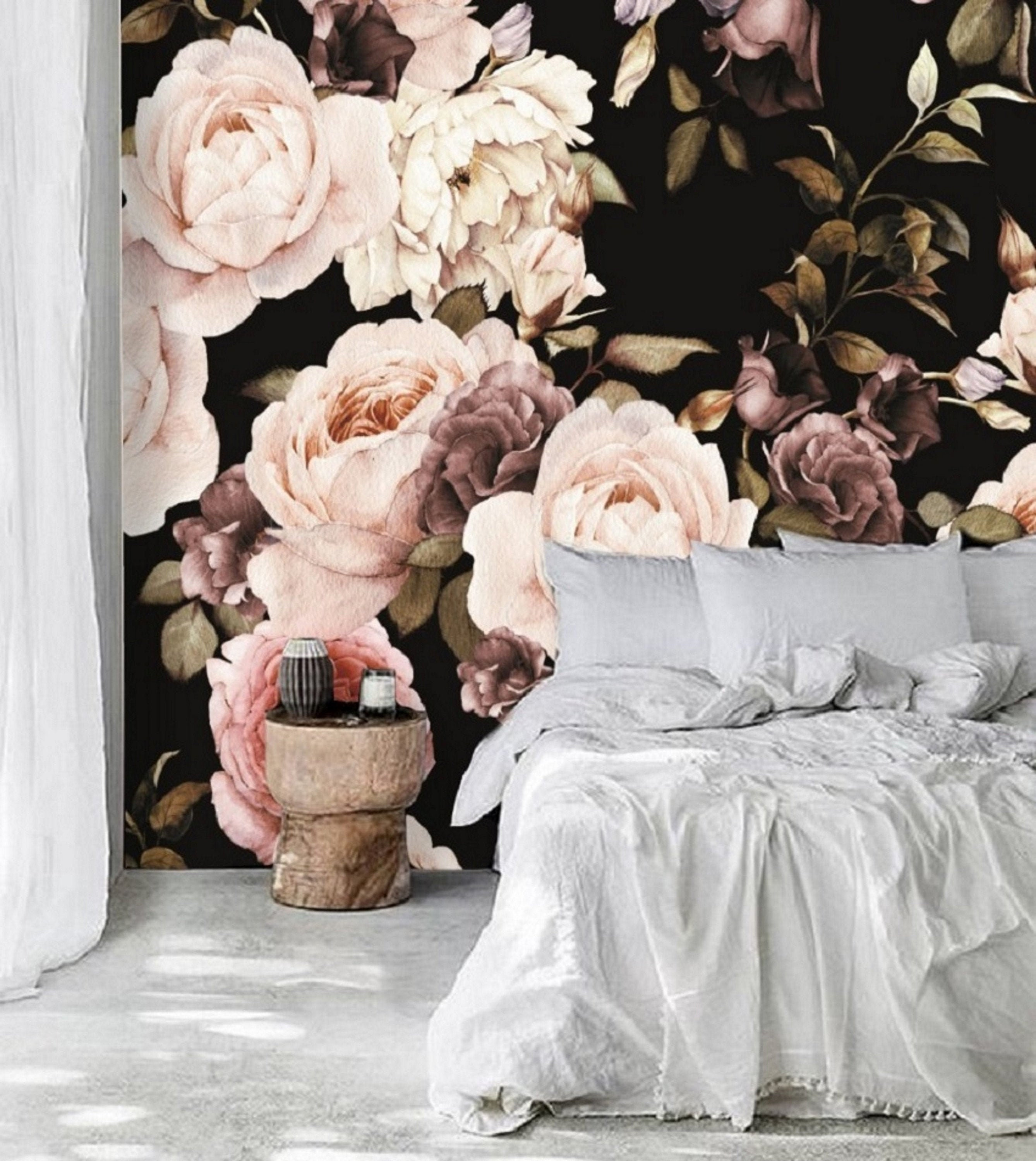 Dark Floral Wallpaper Mural Peel And Stick Wallpaper Floral Etsy