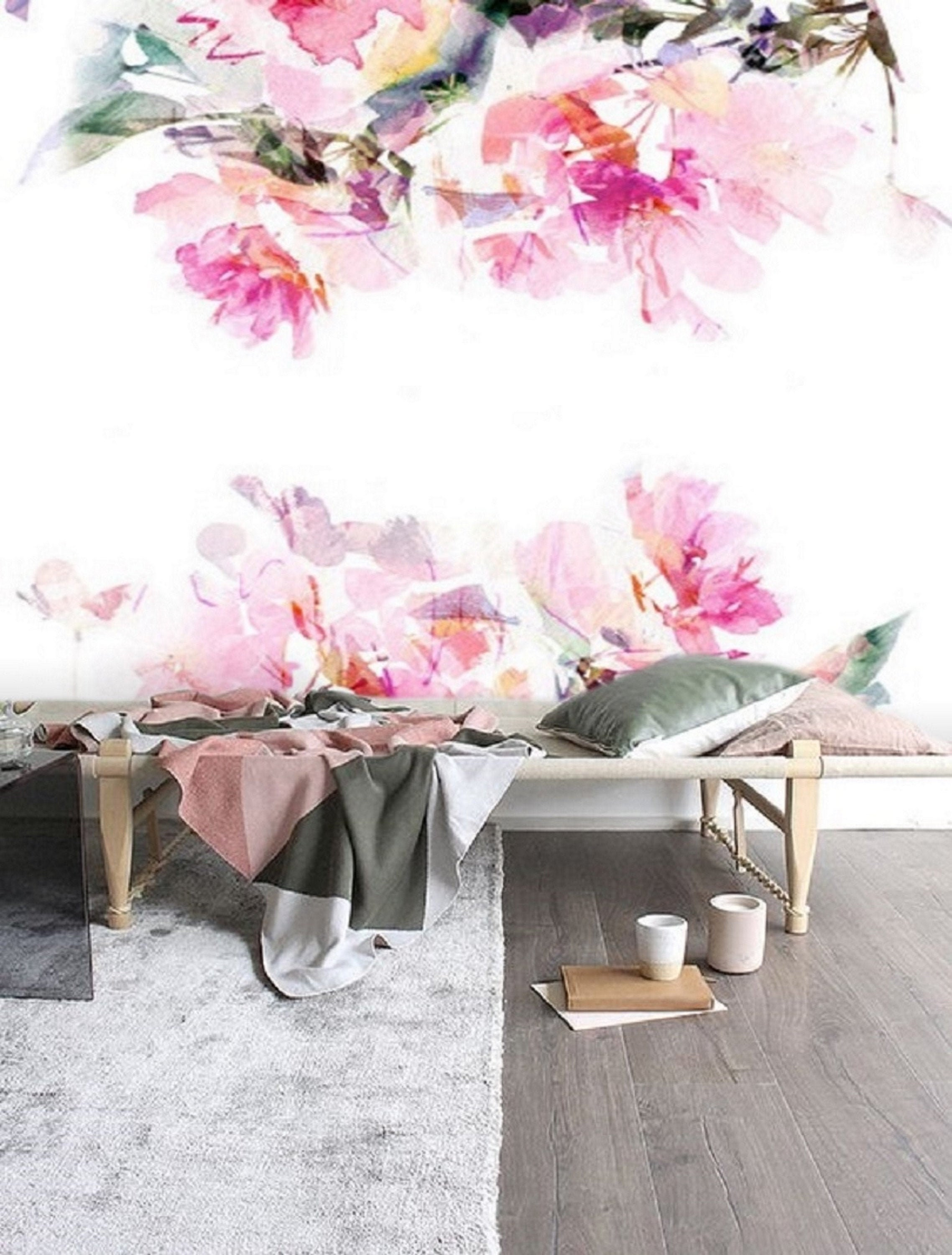 Pink Floral Wall Mural Wallpaper Remove Peel And Stick Etsy