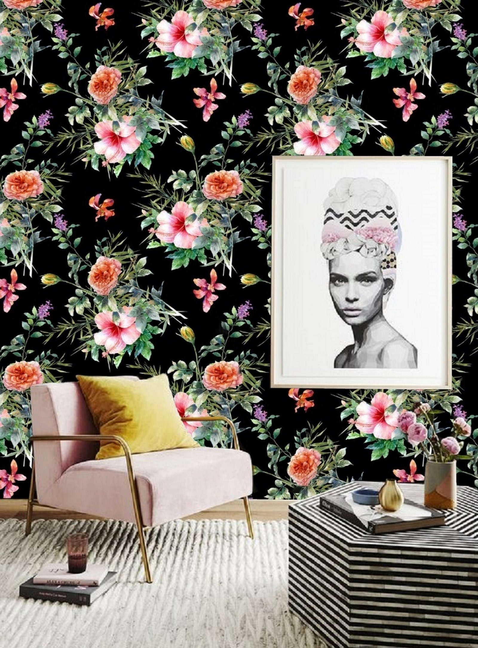 Watercolor Floral Wallpaper Removable Wallpaper Colorful Etsy