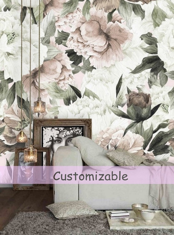 Peel And Stick Wallpaper Floral Large Floral Wallpaper Etsy
