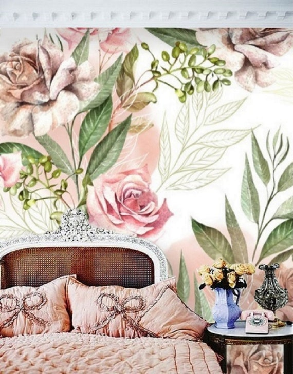 Rose Floral Removable Wallpaper Mural Floral Peel And Stick Wallpaper Pink Floral Baby Girl Nursery Wallpaper Large Flower Wallpaper 145