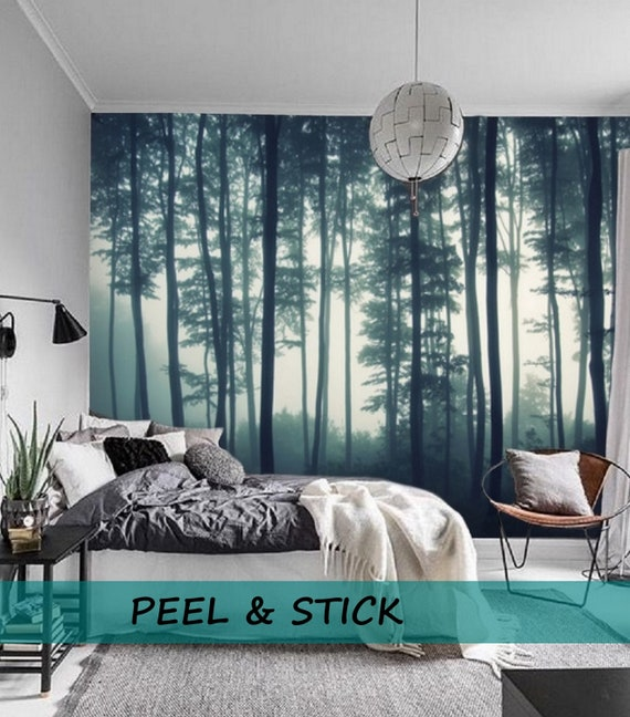 Misty Forest Wall Mural Removable Wallpaper Mural Forest Etsy