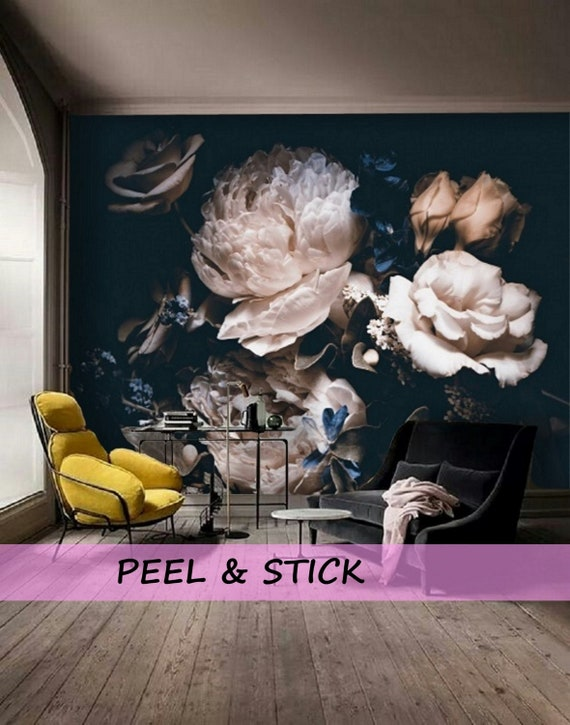Peel And Stick Wallpaper Floral Large Floral Wallpaper Dark Etsy