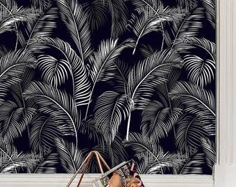 tropical oasis removable wallpaper, tropical wall decal, botanical, jungle wallcovering,exotic leaves, palms leaf print, peel&stick, # 24
