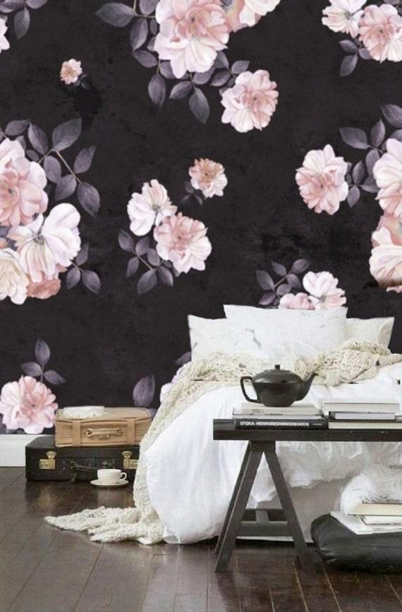 Roses Flower Wallpaper Dark Floral Wall Mural Removable Etsy