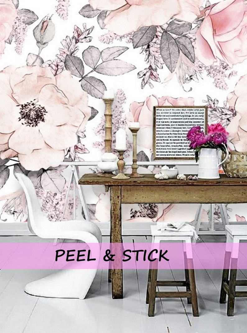 Peel And Stick Wallpaper Mural Removable Floral Wallpaper Etsy