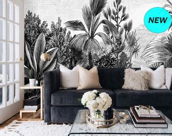 Black and White Jungle Wallpaper Rainforest, Landscape Wall Mural Removable Wallpaper Tropical, Self Adhesive Wallpaper Peel and Stick #153