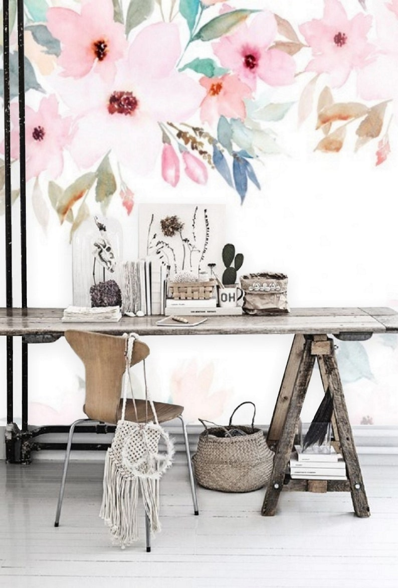 Peel And Stick Wallpaper Floral Mural Removable Wallpaper Etsy