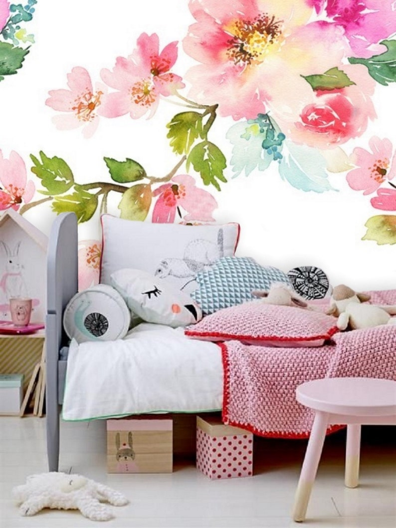 Pink Floral Wallpaper Mural Peel /& Stick Wallpaper Remove Floral Pastel Mural Wallpaper Baby Girl Wall Decal Temporary Wallpaper Floral #89