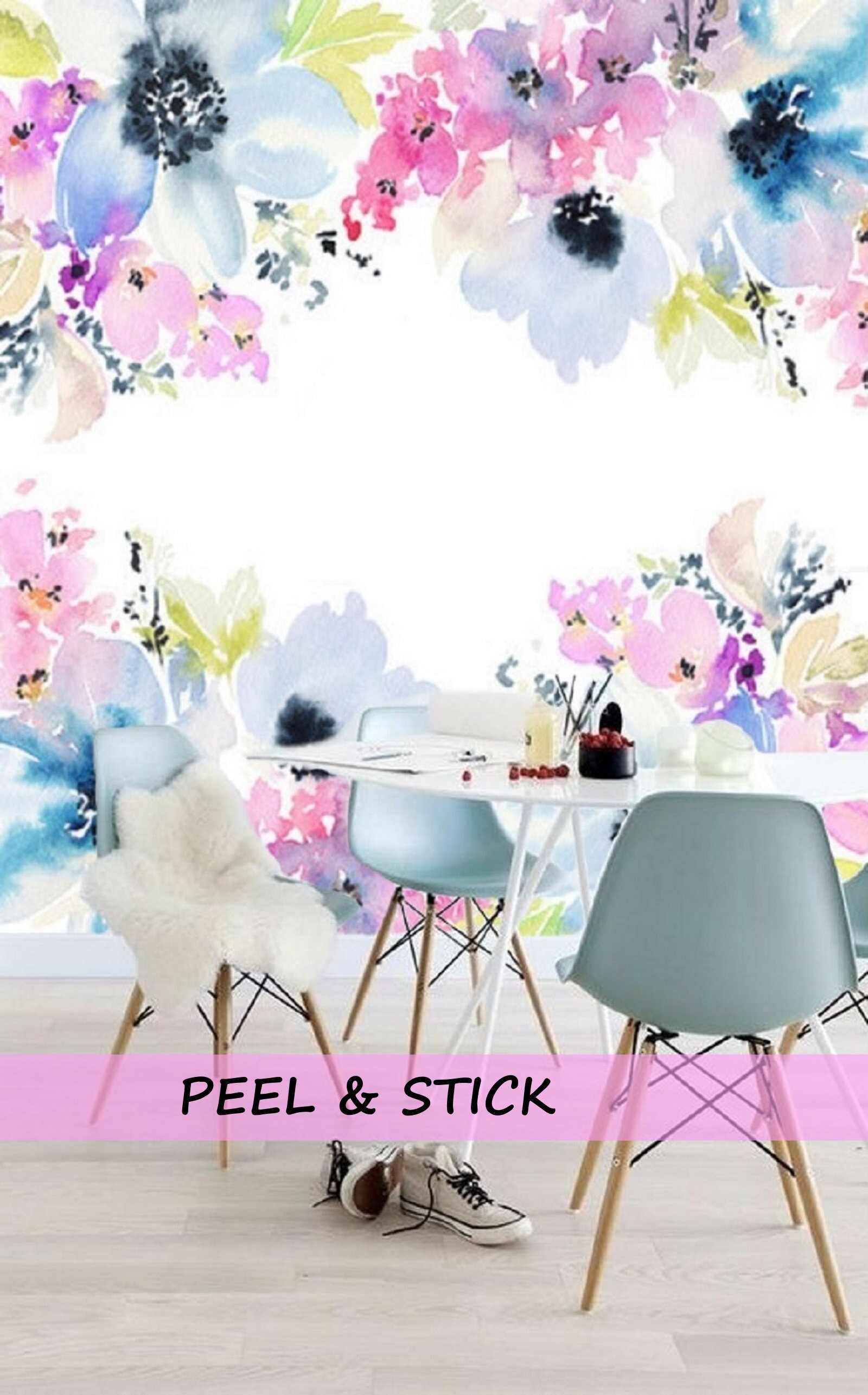 Blue Floral Wallpaper Mural Floral Wall Decal Nursery Etsy
