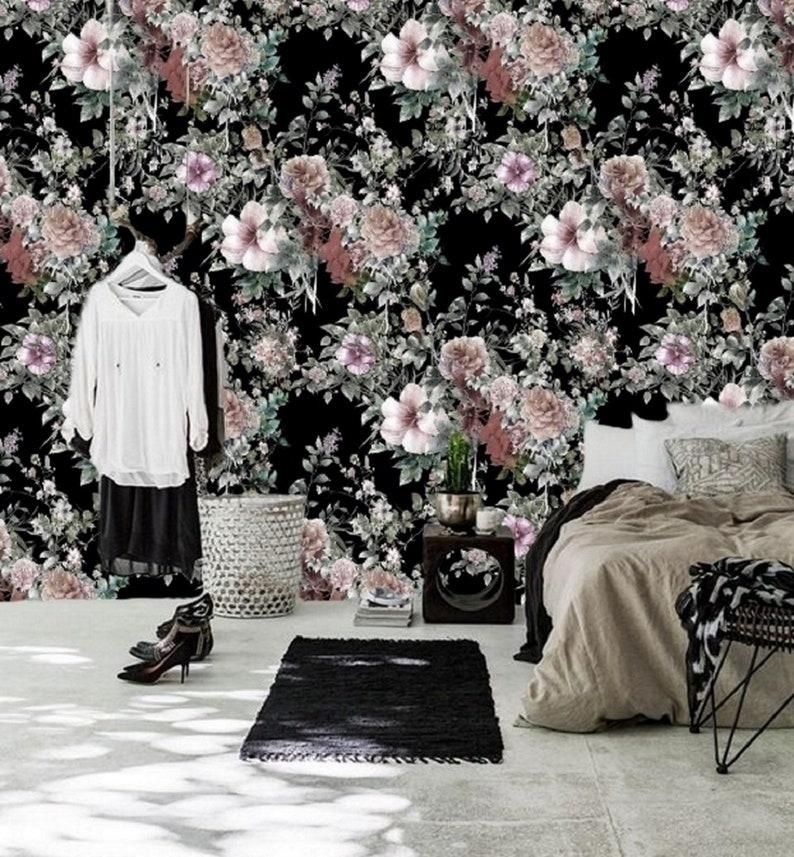 Wall Paper Flower Nursery Wallpaper Girl Decal #18 Peel and Stick Wallpaper Floral Mural Wallpaper Removable Dark Floral Wall Mural Remove