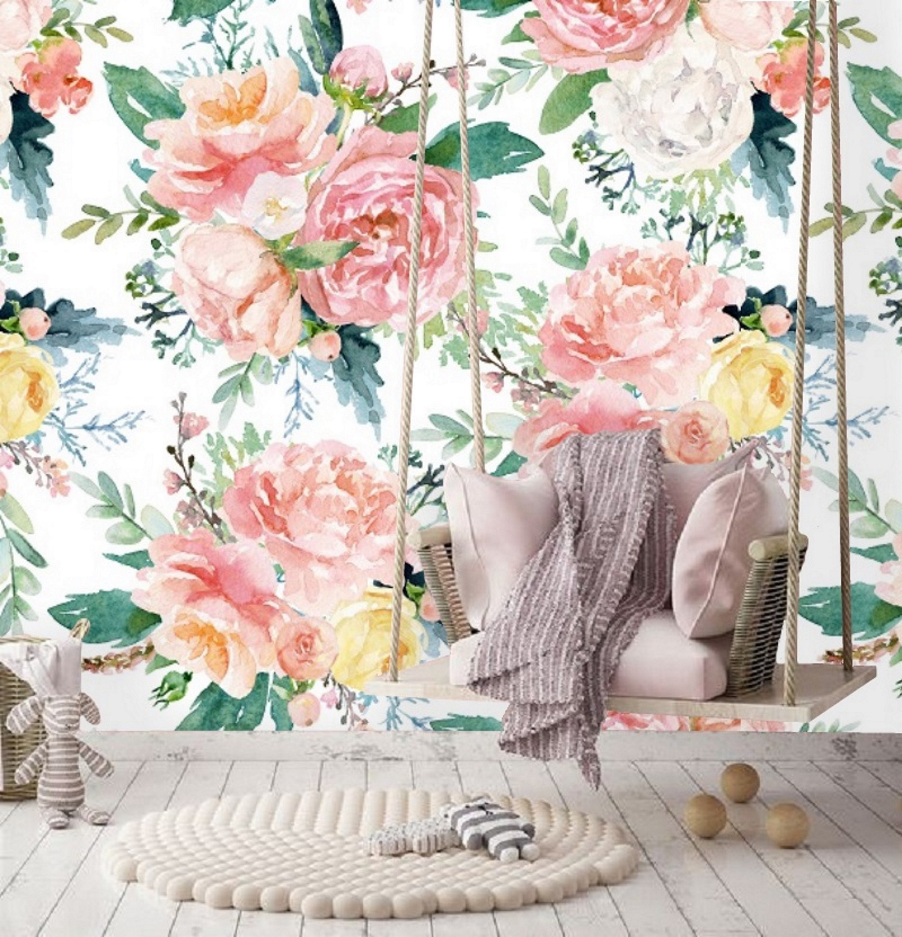 Large Watercolor Peony Floral Wallpaper Nursery Girl Wallpaper Etsy
