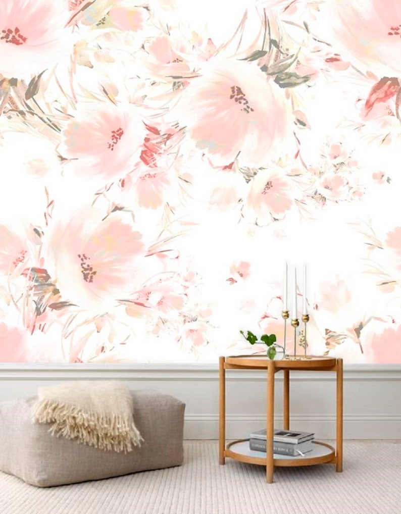 Spring Floral Wallpaper Watercolor Blossoms Wallpaper Blush Etsy
