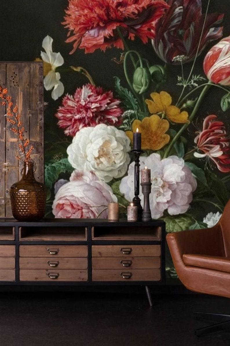 Flower Wall Mural Removable Wallpaper Dark Floral Mural Peel Etsy