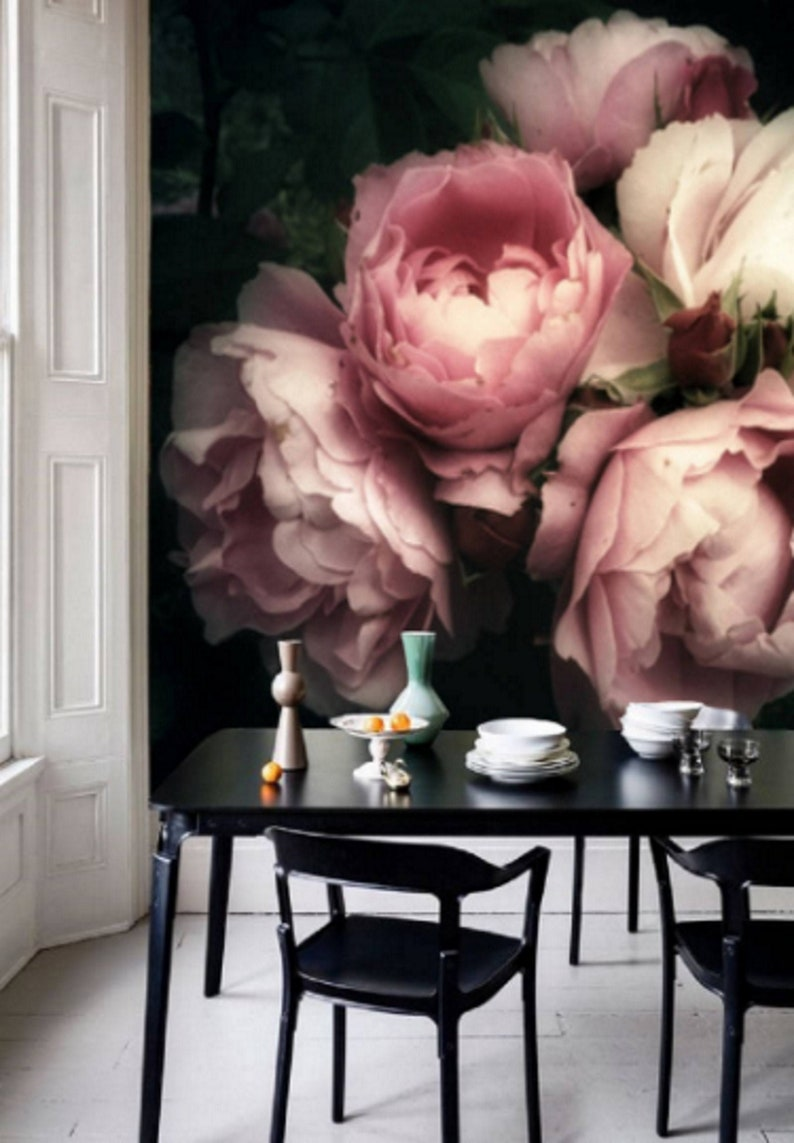 Large Flower Wallpaper Large Flower Mural Peel And Stick Etsy