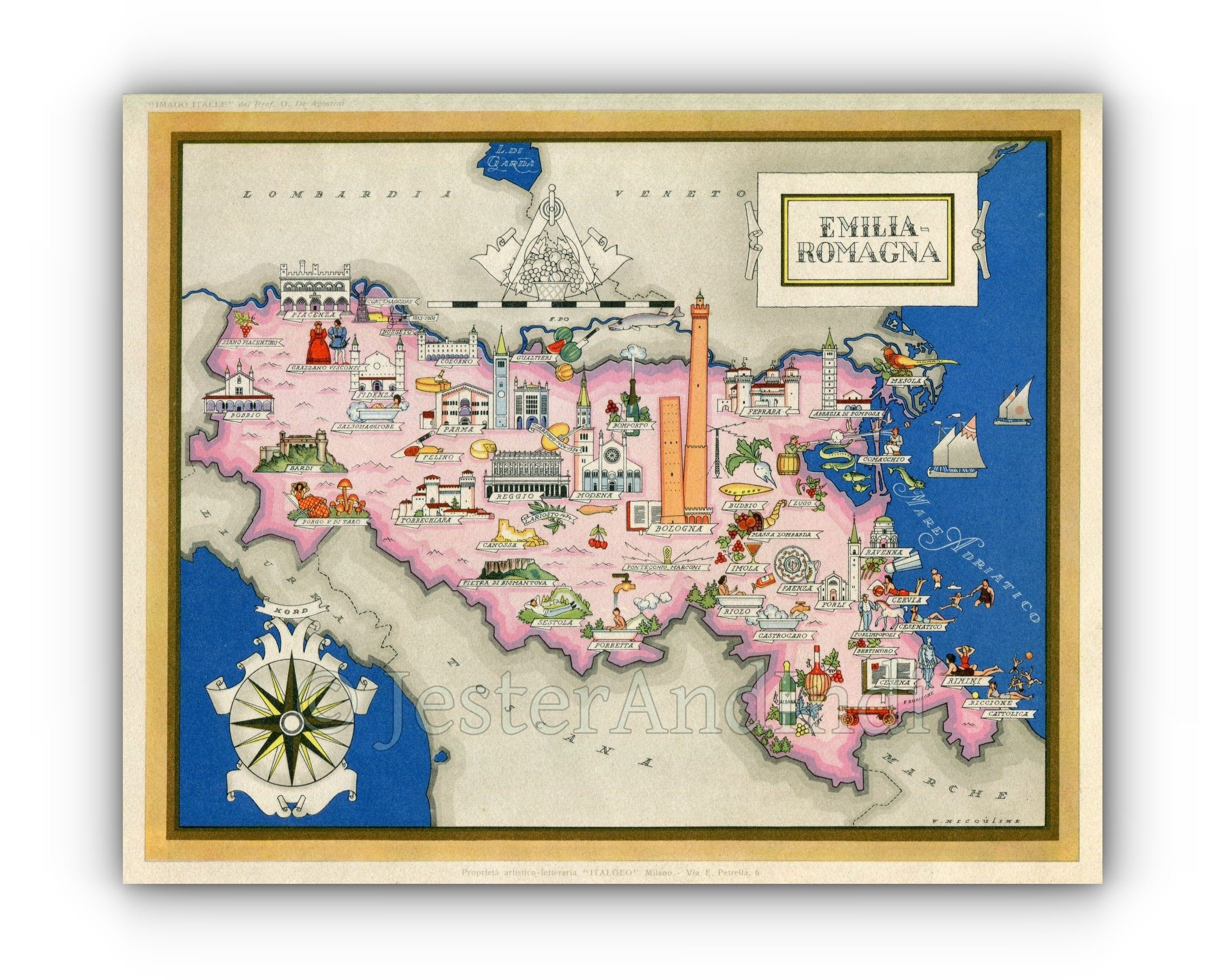 Italy A3 or A4 Print Pictorial Map Emilia-Romagna
