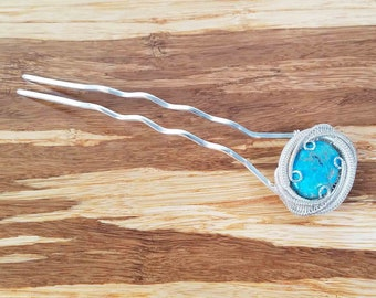 Turquoise Hair Pin & Wire Wrapped Hair Fork | Headpiece Jewelry | Hair Pins Made with 100% Silver | Bridal Hair Accessories