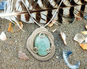 Larimar Heady Wire Wrapped Pendant | 100% Boho Hippie | Ocean Mermaid Pendant | Silver Triskelion Elven Necklace | Bohemian Jewelry