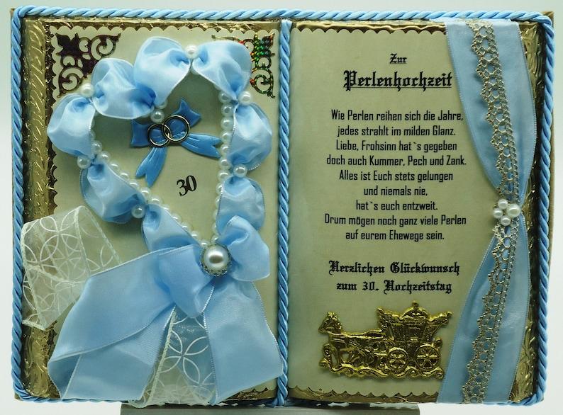 Perlenhochzeit 30 Hochzeitstag Geschenkbuch Dekobuch Mit Etsy