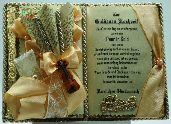 Deko Buch Zur Goldenen Hochzeit Mit Holz Buchständer